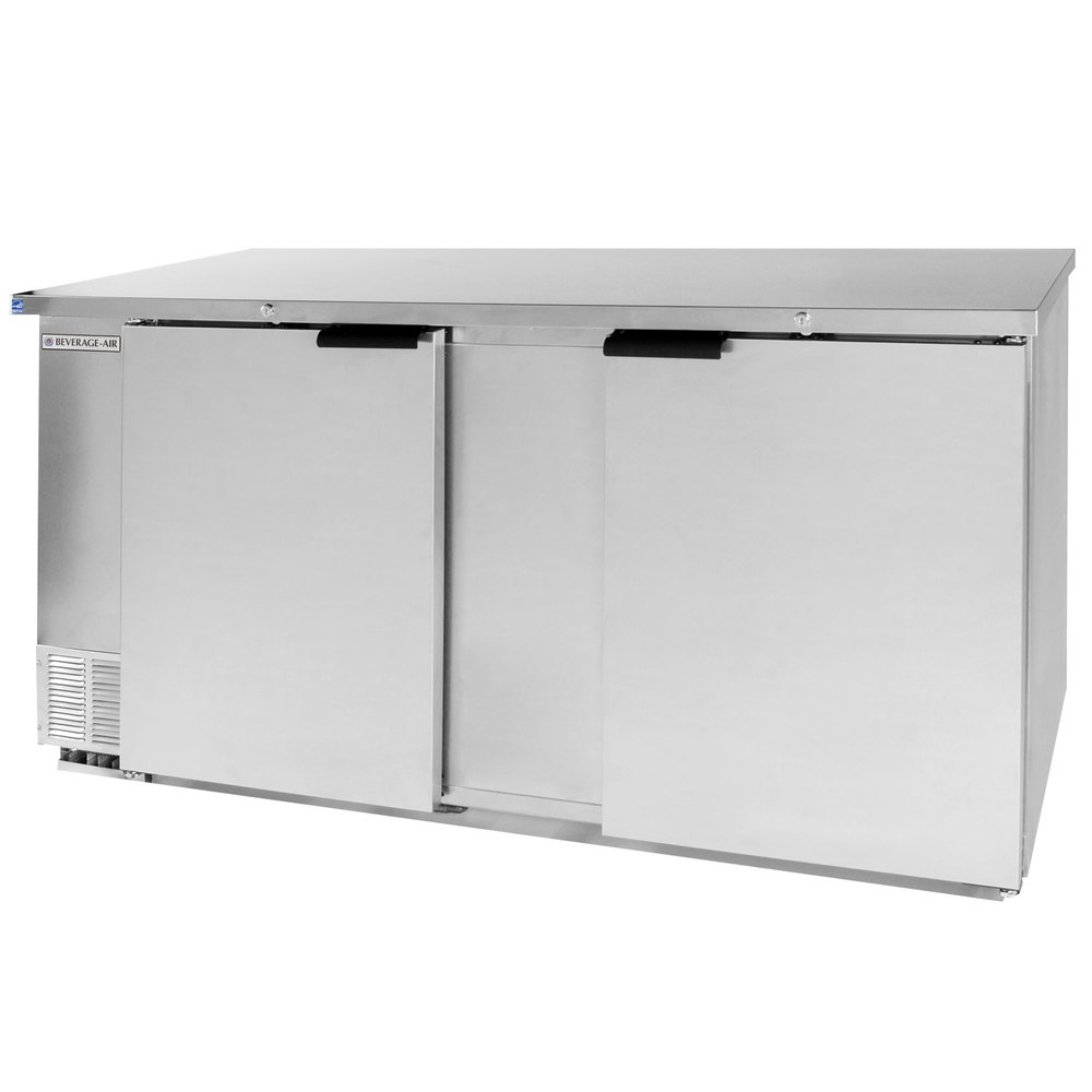 "Beverage Air BB68-1-S 68"" Back Bar Refrigerator with 2 Solid Doors and Stainless Steel Front - 115V"
