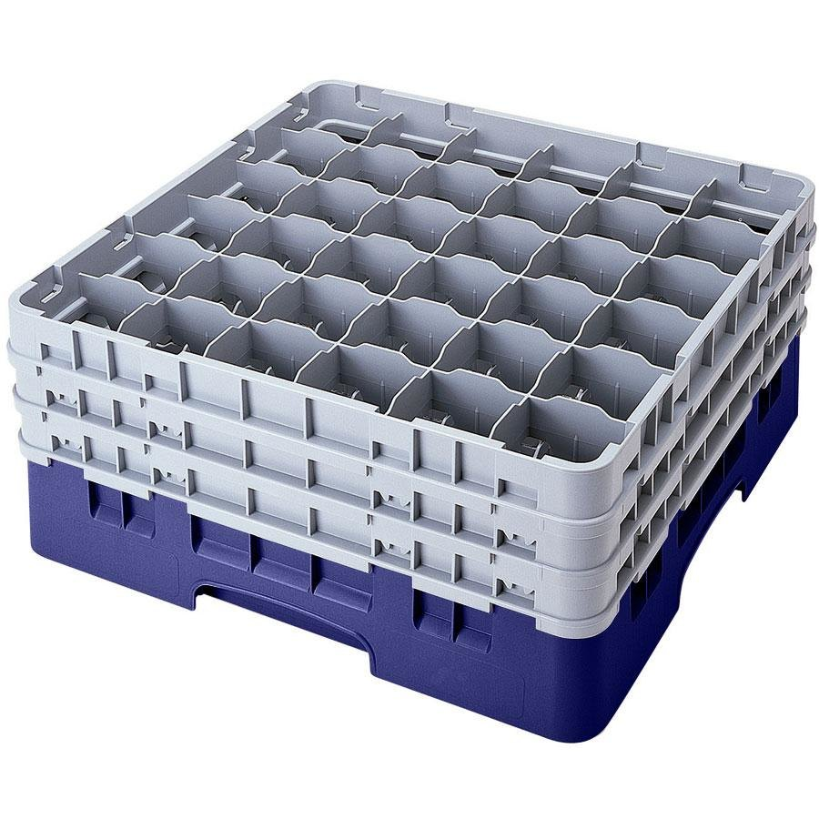 "Cambro 36S1058186 Navy Blue Camrack 36 Compartment 11"" Glass Rack"
