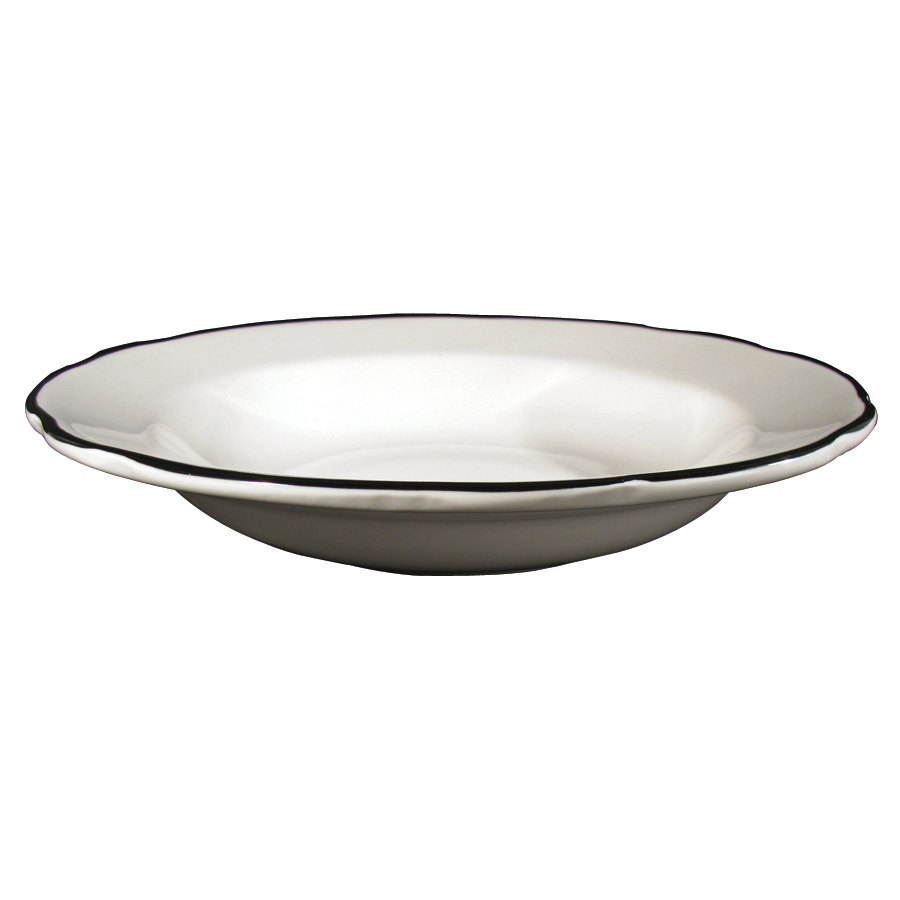 CAC SC-3B 10 oz. Scalloped Edge American White (Ivory / Eggshell) Seville China Soup Bowl with Black Band - 24/Case