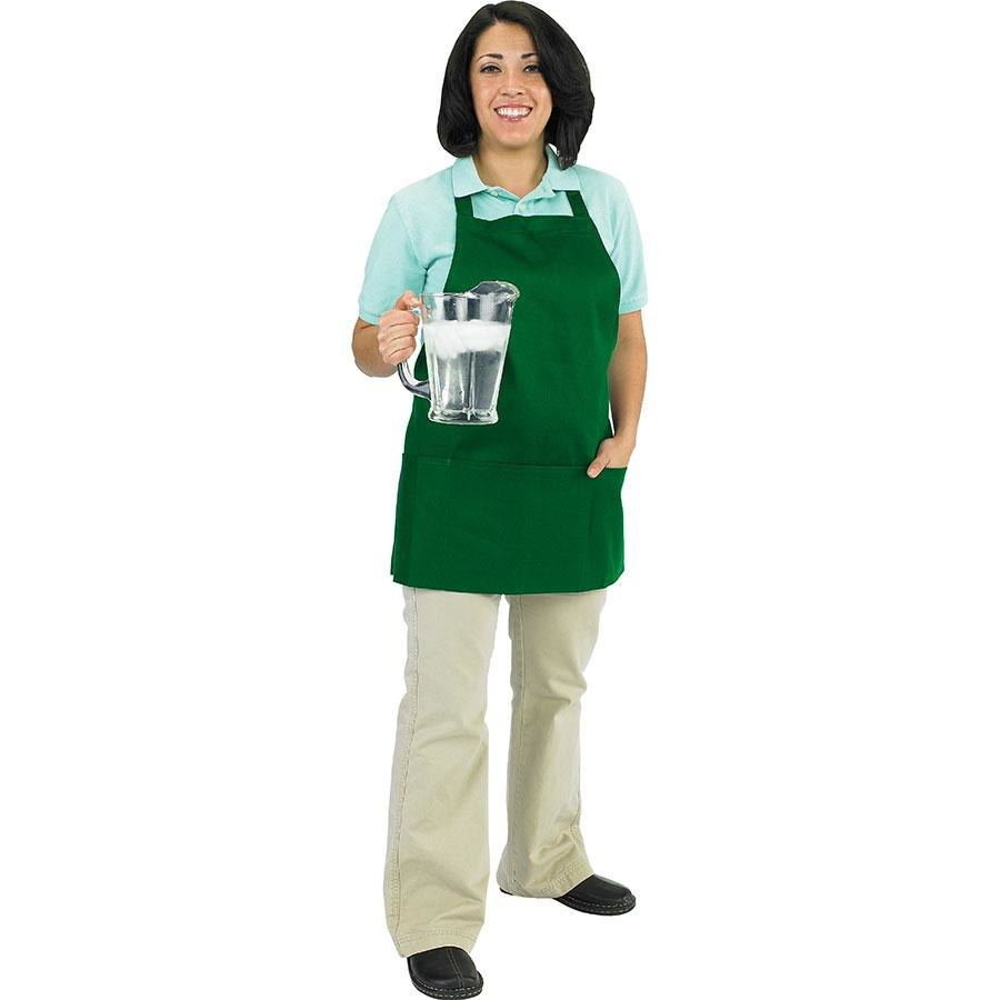 Chef Revival 602BAFH-GN Professional Front of the House Kelly Green Bib Apron – 28 inch x 25 inch