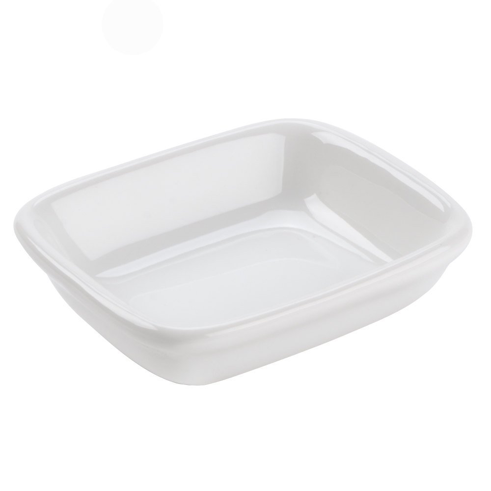Tuxton BWZ-040B DuraTux Healthcare 4 oz. Blanco / White Rectangle China Sauce Dish - 24 / Case