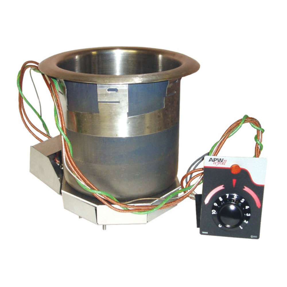 APW Wyott SM-50-4D 4 Qt. Round Drop In Soup Well with Drain