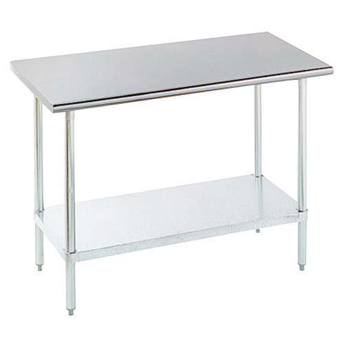 "Advance Tabco ELAG-300-X 30"" x 30"" 16 Gauge Stainless Steel Work Table with Galvanized Undershelf"