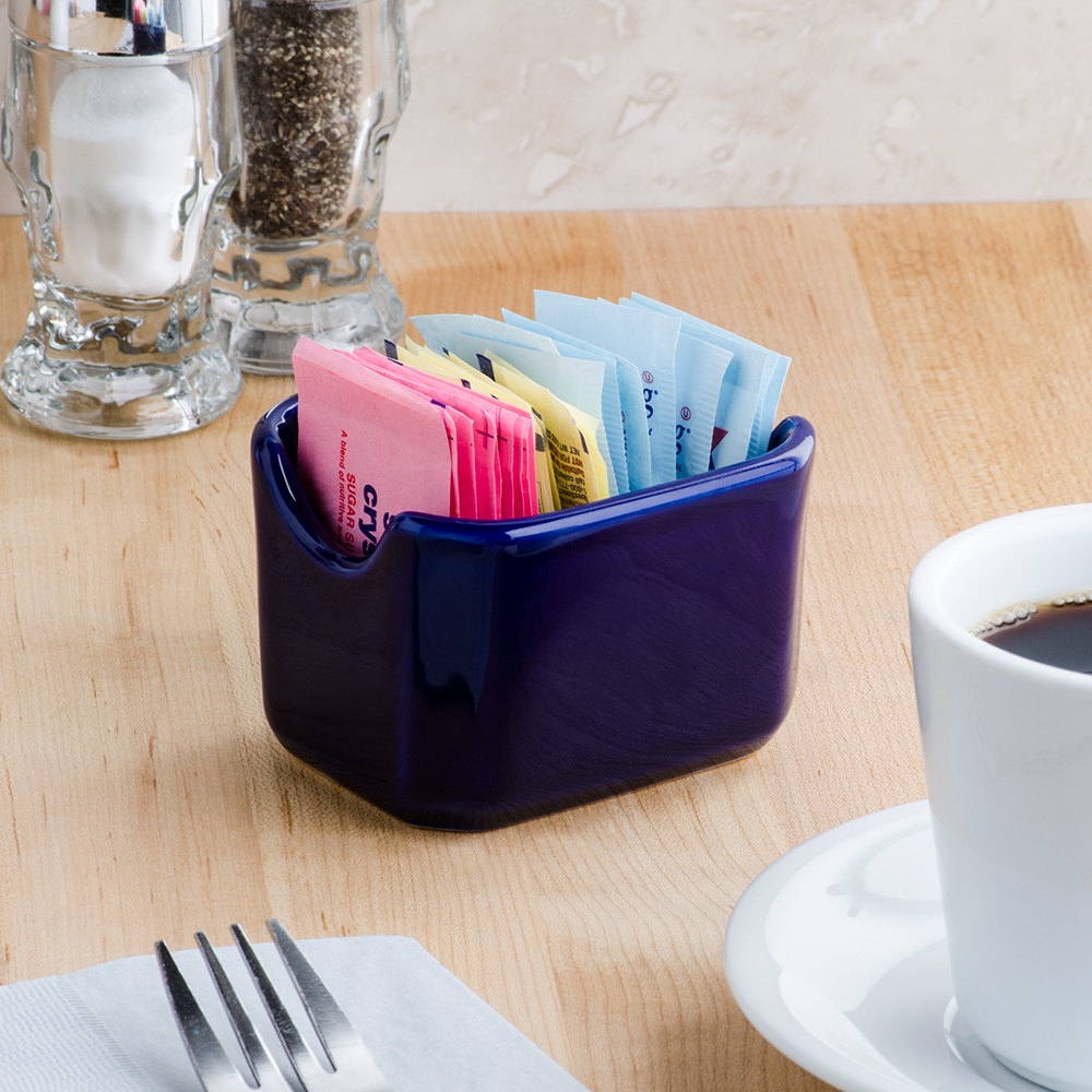"Tuxton BCQ-034 DuraTux 3 1/2"" Cobalt Sugar Packet Holder - 12/Case"