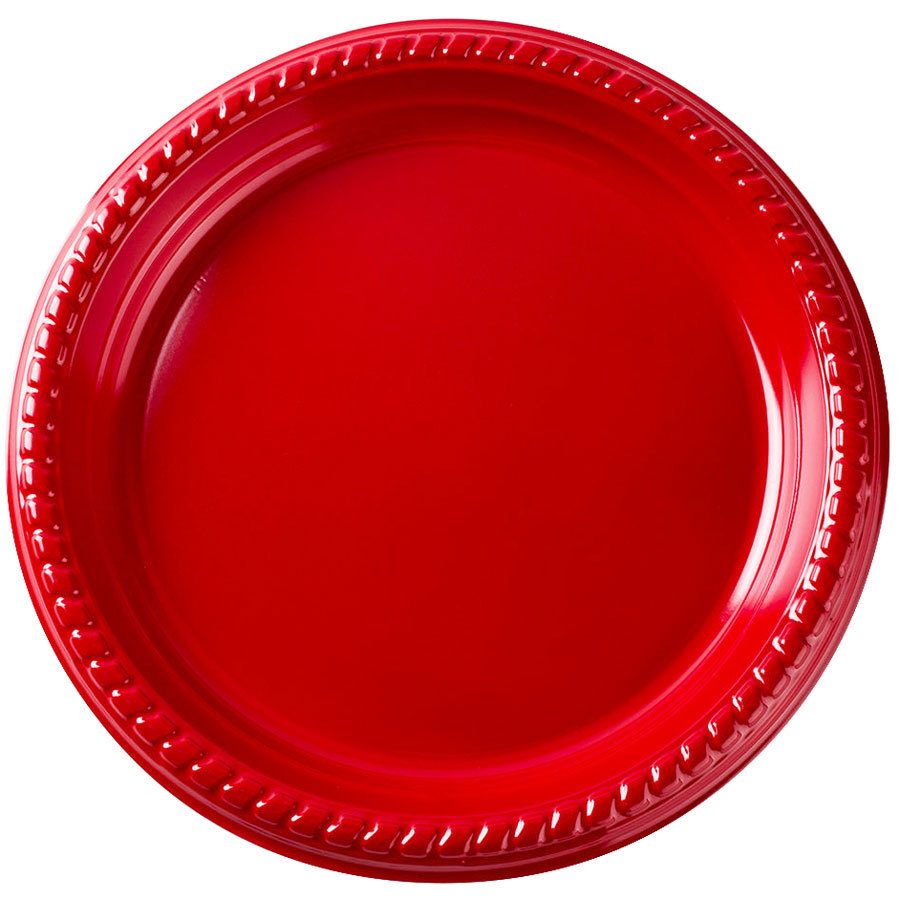 "Dart Solo PS15R-0099 10 1/4"" Red Plastic Plate - 500/Case"