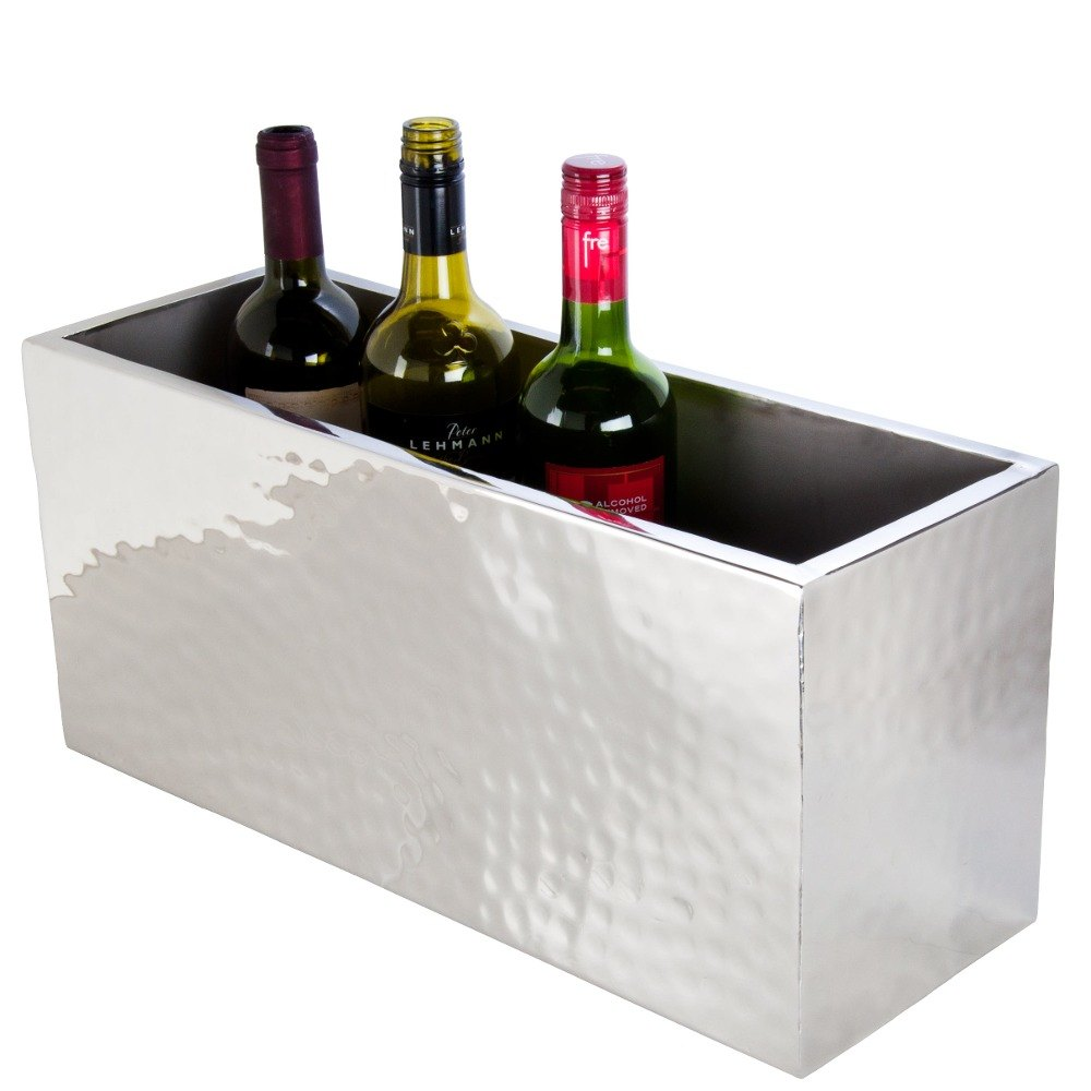 "American Metalcraft DWWC4 Rectangle Double Wall Hammered Stainless Steel Four-Bottle Chiller - 18 1/2"" x 6 3/4"" x 8 1/2"""