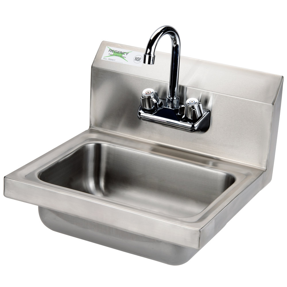 Regency Wall Mounted NSF Hand Sink with Gooseneck Faucet - 17 inch x 15 inch