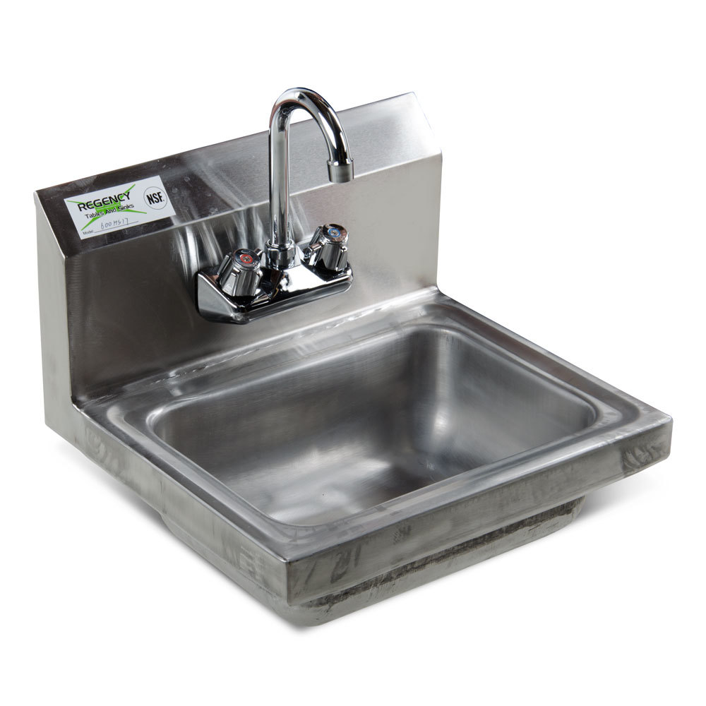 Regency Wall Mounted Hand Sink with Faucet NSF - 17 inch x 15 inch