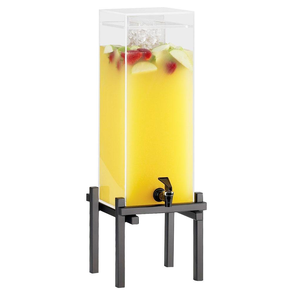 Cal Mil 1132-3-13 Black One By One 3 Gallon Beverage Dispenser with Ice Core - 10 1/4 inch x 10 1/2 inch x 25 1/2 inch