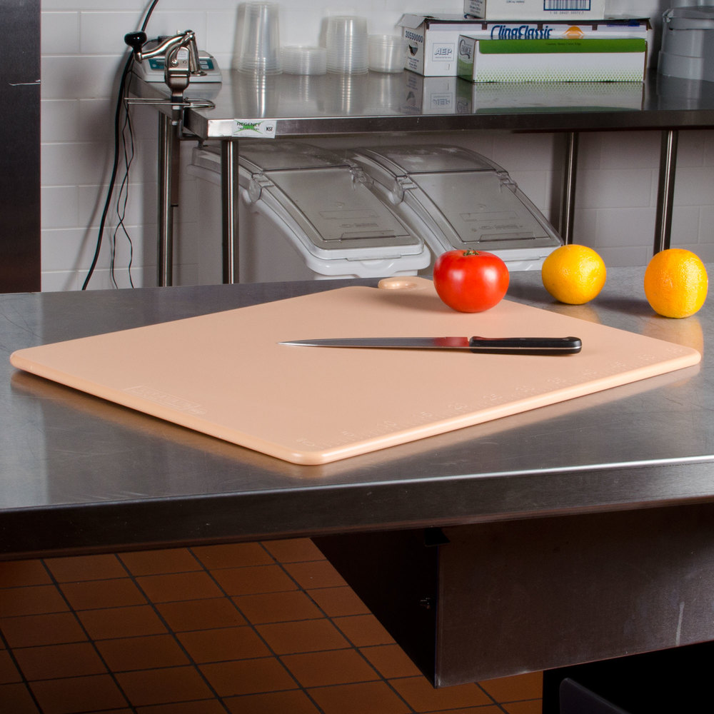 "San Jamar CB182412BR Brown 18"" x 24"" x 1/2"" Cut-N-Carry Cutting Board with Hook"