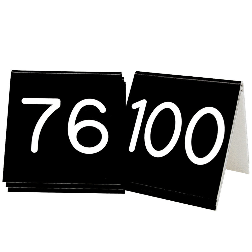 "Cal-Mil 269D-2 Black Engraved Number Tent Sign Set 76-100 - 3"" x 3"""