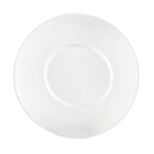"CAC PS-16 Paris French Elite 10"" Bone White Porcelain Flat Plate with Wide Rim - 12/Case"