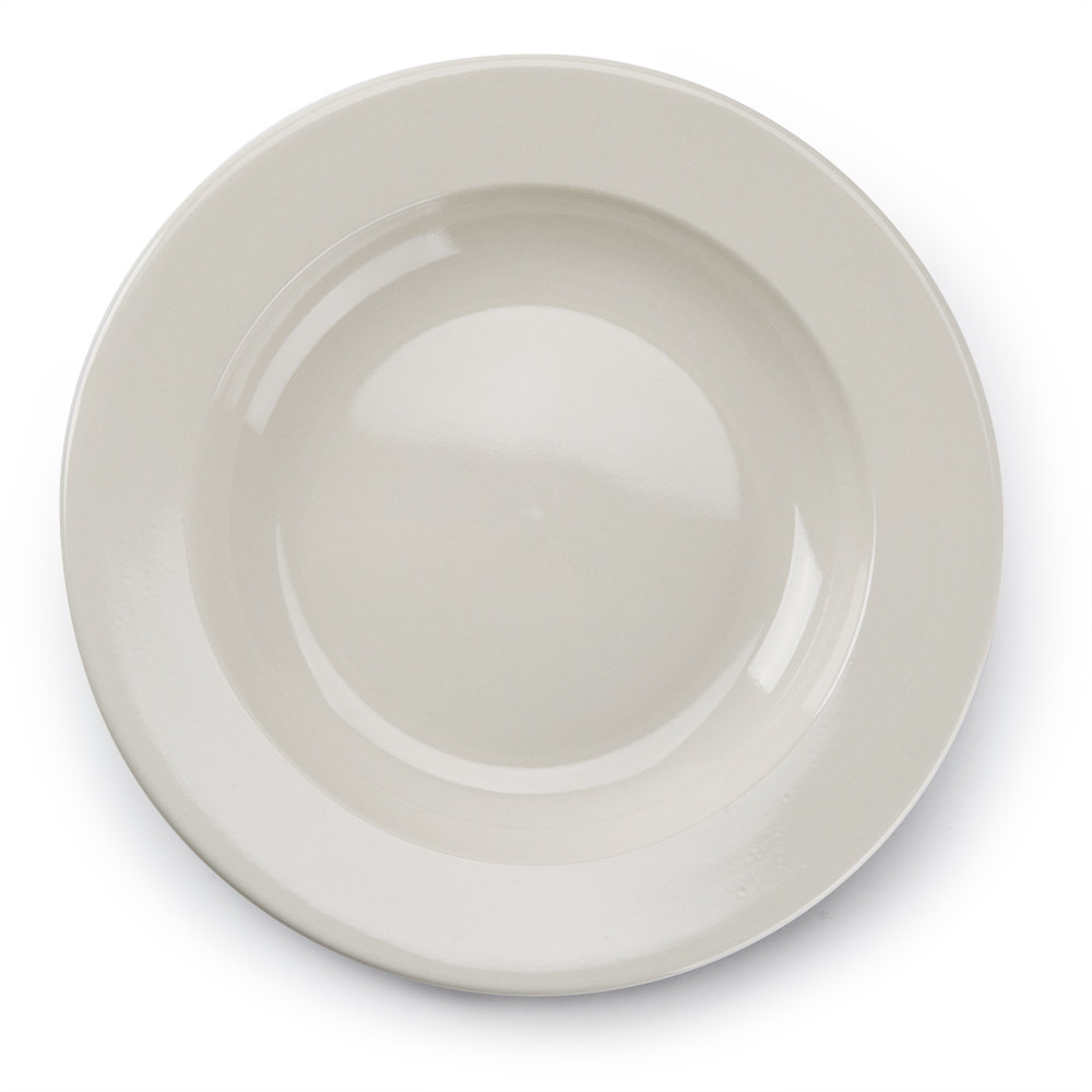 Wide Rim 24 oz. American White (Ivory / Eggshell) Rolled Edge China Pasta Bowl - 12 / Case