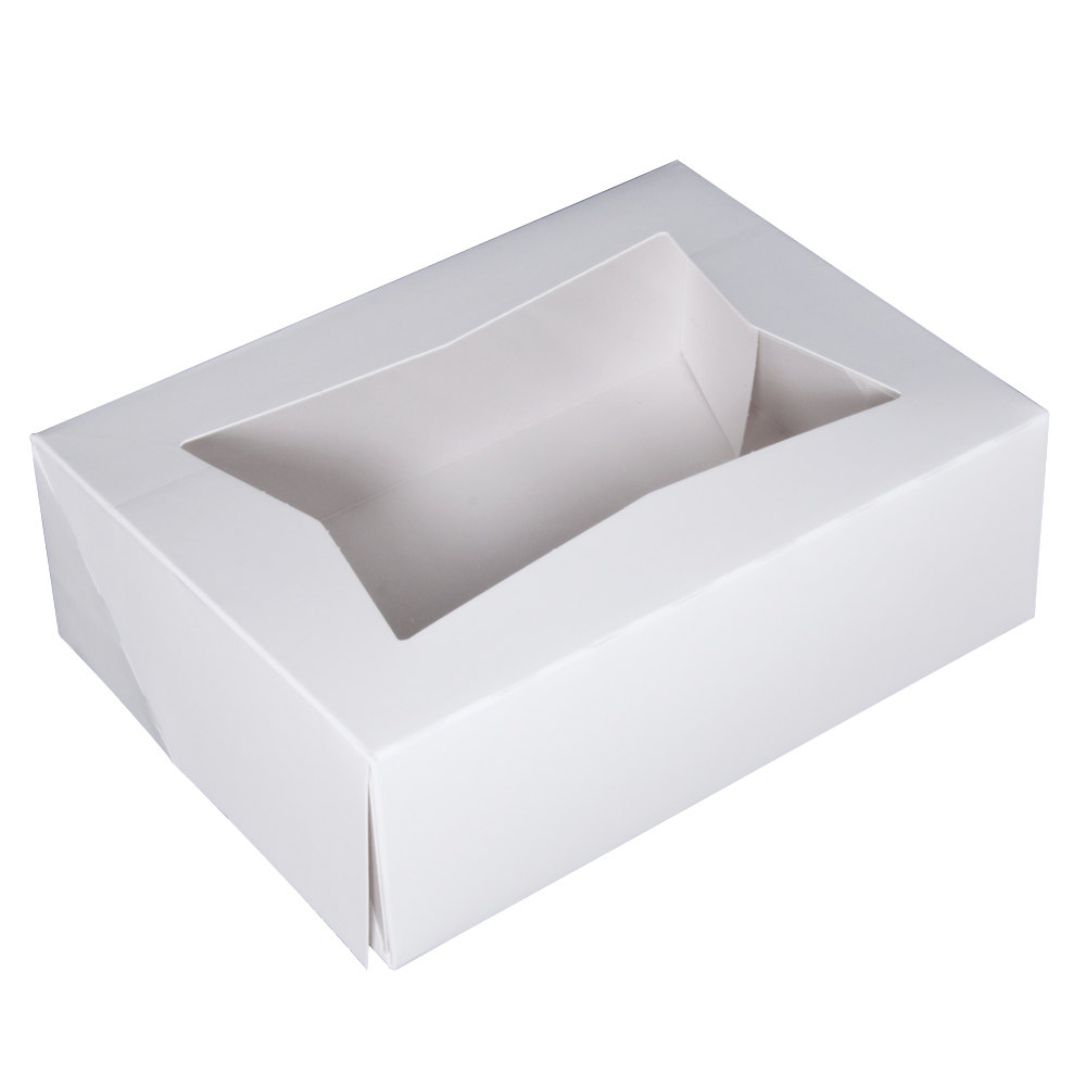 "8"" x 5 3/4"" x 2 1/2"" White Auto-Popup Window Cake / Bakery Box - 200 / Bundle"