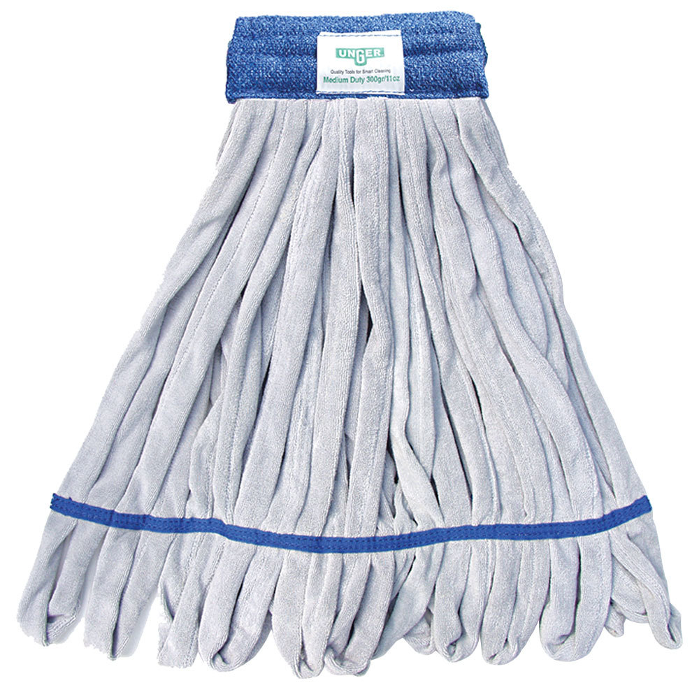Unger ST38B SmartColor RoughMop ST38 Series 13 oz. Blue Microfiber String Mop Head with 26 Strands
