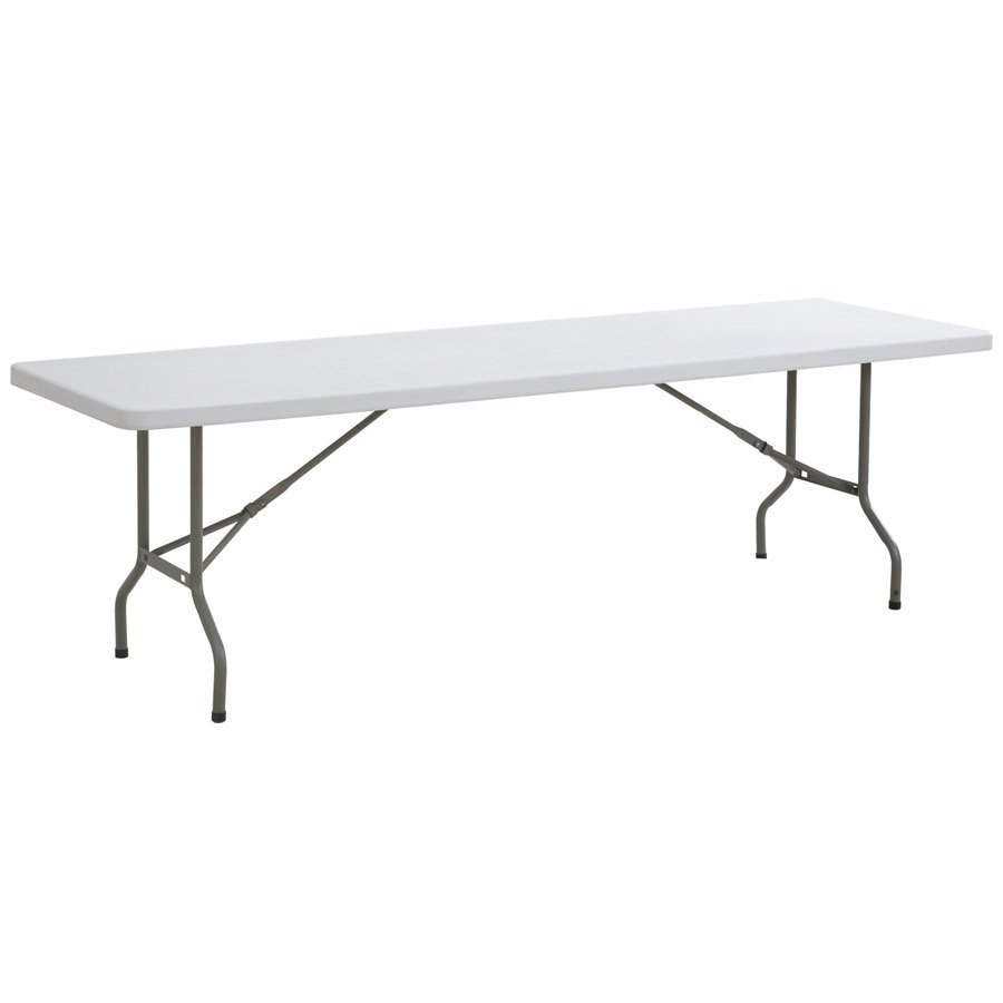Lancaster Table & Seating 8 Ft. Banquet Table - Heavy Duty White Granite Plastic - 29 inch High