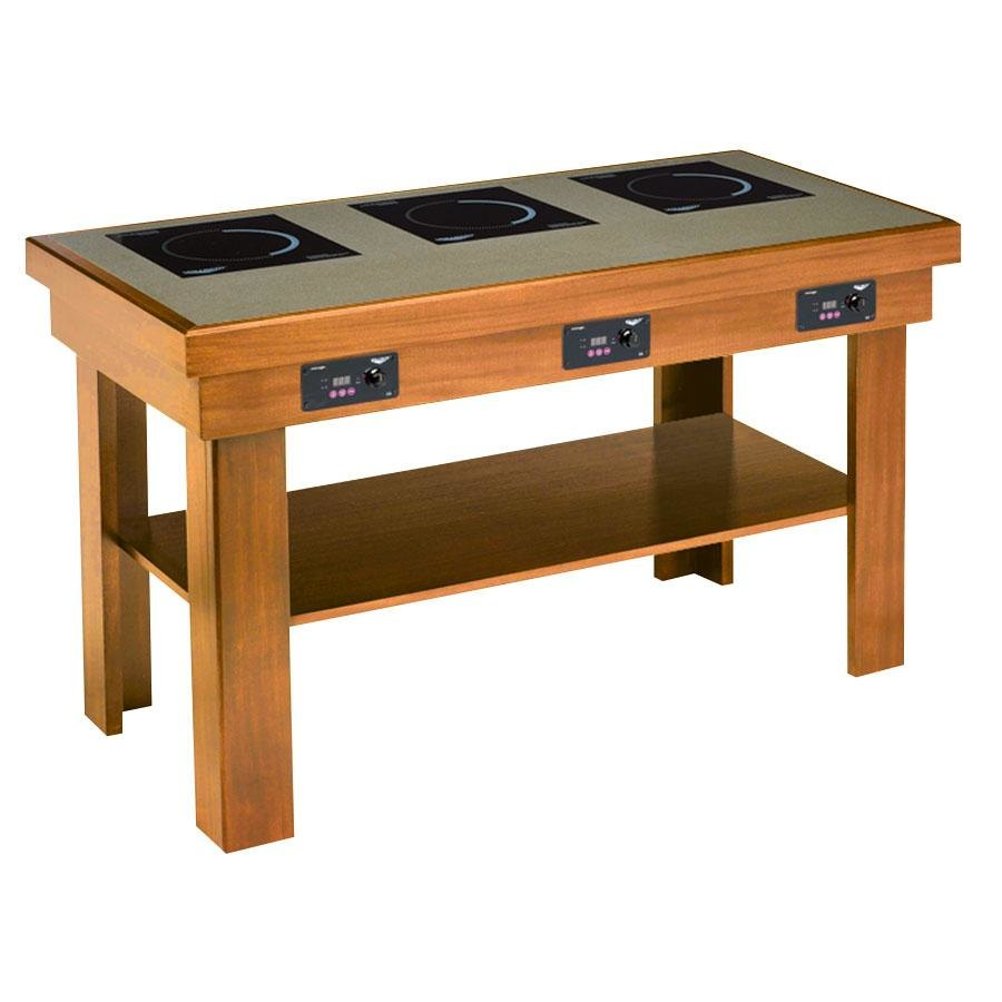 Vollrath 75524 medium oak buffet table with 3 induction for Table induction