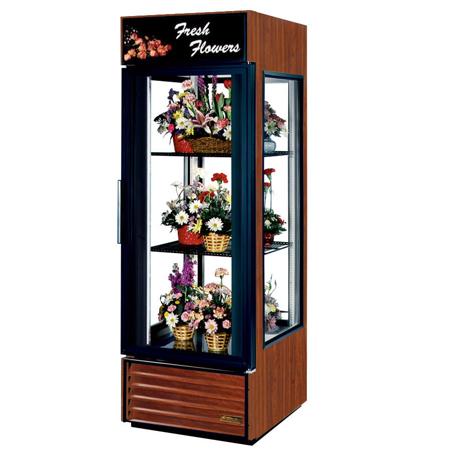 True G4SM-23FC Cherry Four Sided Glass Door Floral Case with Front Sign - 23 Cu. Ft.