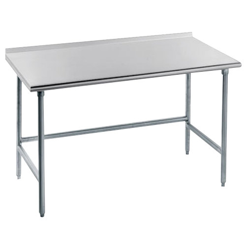 "Advance Tabco TFAG-363 36"" x 36"" 16 Gauge Super Saver Commercial Work Table with 1 1/2"" Backsplash"