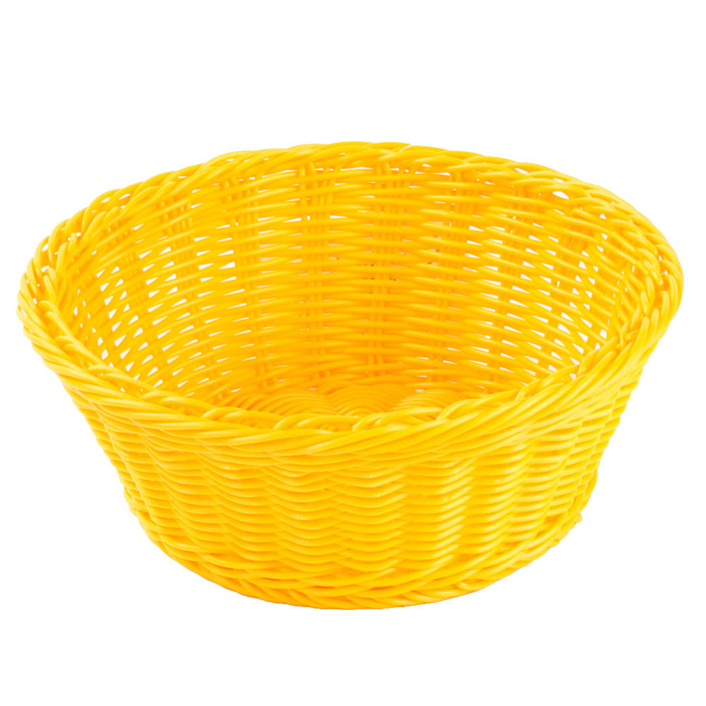 "Yellow Tablecraft Round Rattan Basket 8 1/4"" X 3 1/4"" 6/Pack"