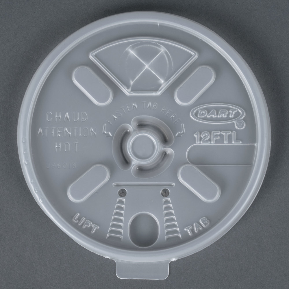 Dart Solo 12FTLS Translucent Lift 'n 'Lock Lid with Straw Slot - 100/Pack