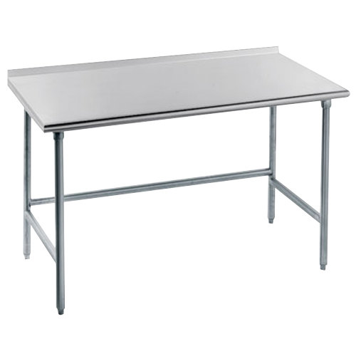 "Advance Tabco TFMG-306 30"" x 72"" 16 Gauge Open Base Stainless Steel Commercial Work Table with 1 1/2"" Backsplash"