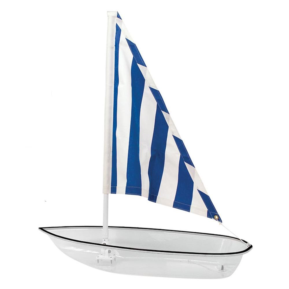 Buffet Enhancements 010SBOAT-WTBF Novelty Seafood Boat Dish with White Acrylic Hull and Blue Sail
