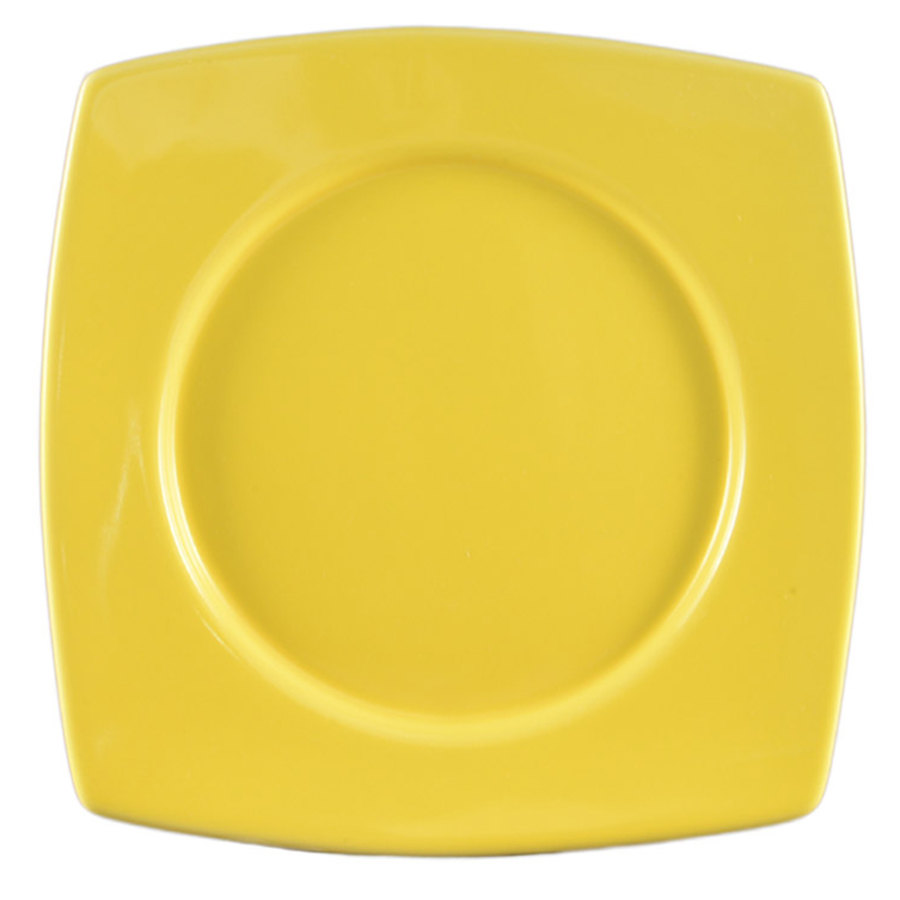 "CAC R-SQ8YW Clinton Color 8 7/8"" Yellow Round in Square Plate - 24/Case"