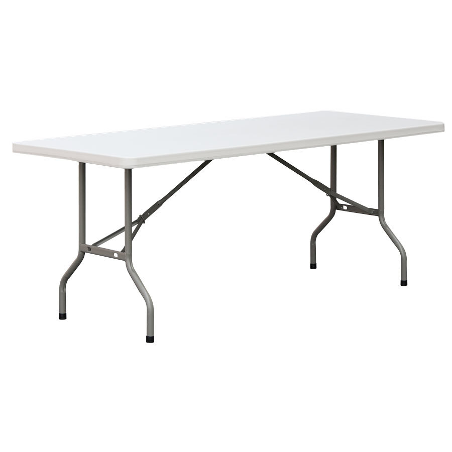 Lancaster Table & Seating 6 Ft. Folding Table - Heavy Duty White Granite Plastic - 29 inch High