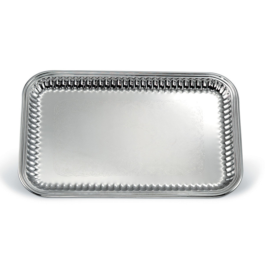 "Vollrath 82166 Esquire 18"" x 12"" Rectangular Fluted Stainless Steel Tray"