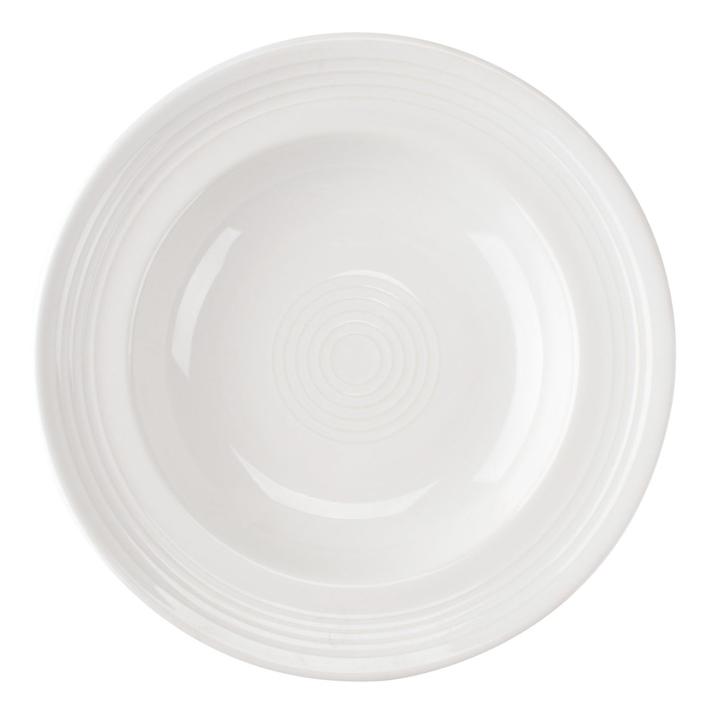 "Tuxton Concentrix CWD-090 White 12 oz. 9"" Rim China Soup / Pasta Bowl 24/Case"