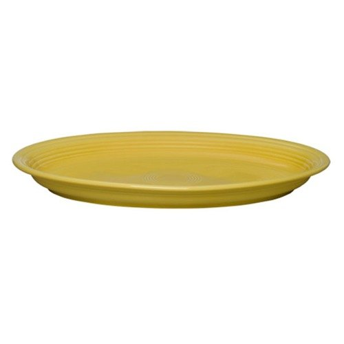 "Homer Laughlin 968320 Fiesta Sunflower 19 1/4"" x 13 1/2"" Extra Large Oval Serving Platter - 2/Case"