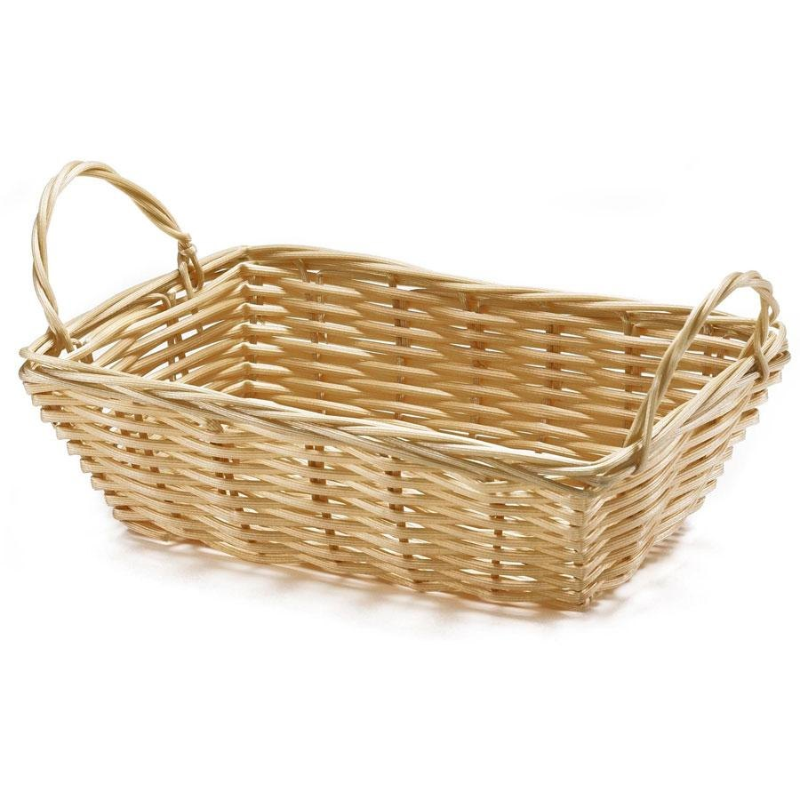 "Tablecraft 1185W Rectangular Woven Basket with Handles 8 1/2"" x 5"" x 2 1/2"" - 12/Pack"