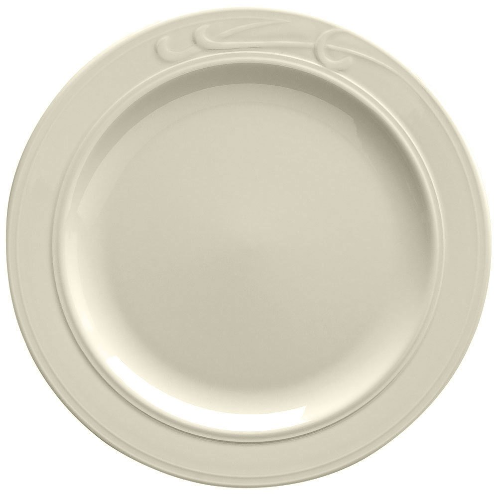 "Homer Laughlin 6041000 Lyrica 6 3/8"" Ivory (American White) China Plate - 36/Case"