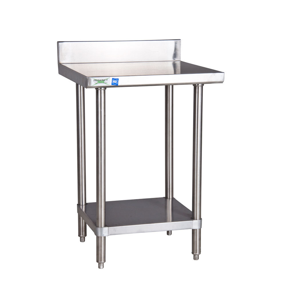 Regency 16 Gauge All Stainless Steel Commercial Work Table - 30 inch x 30 inch with Undershelf and 4 inch Backsplash