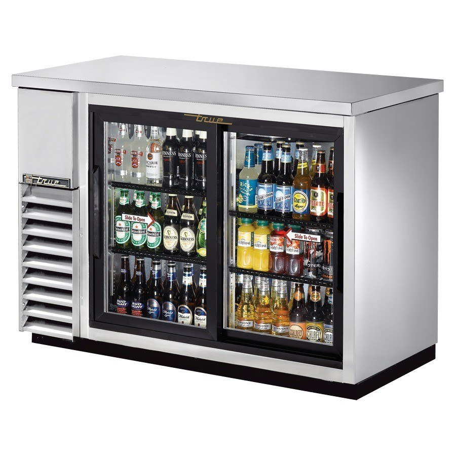 "True Refrigeration True TBB-24-48G-SD-S 49"" Back Bar Cooler Stainless Steel with 2 Sliding Glass Doors - 24"" Deep at Sears.com"