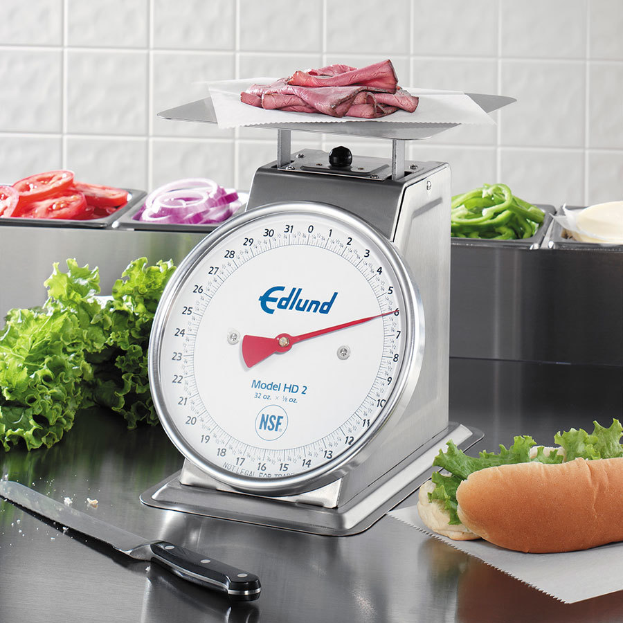 Edlund HD-2 Heavy Duty 32 oz. Portion Control Scale with 8 1/2 inch x 8 1/2 inch Platform