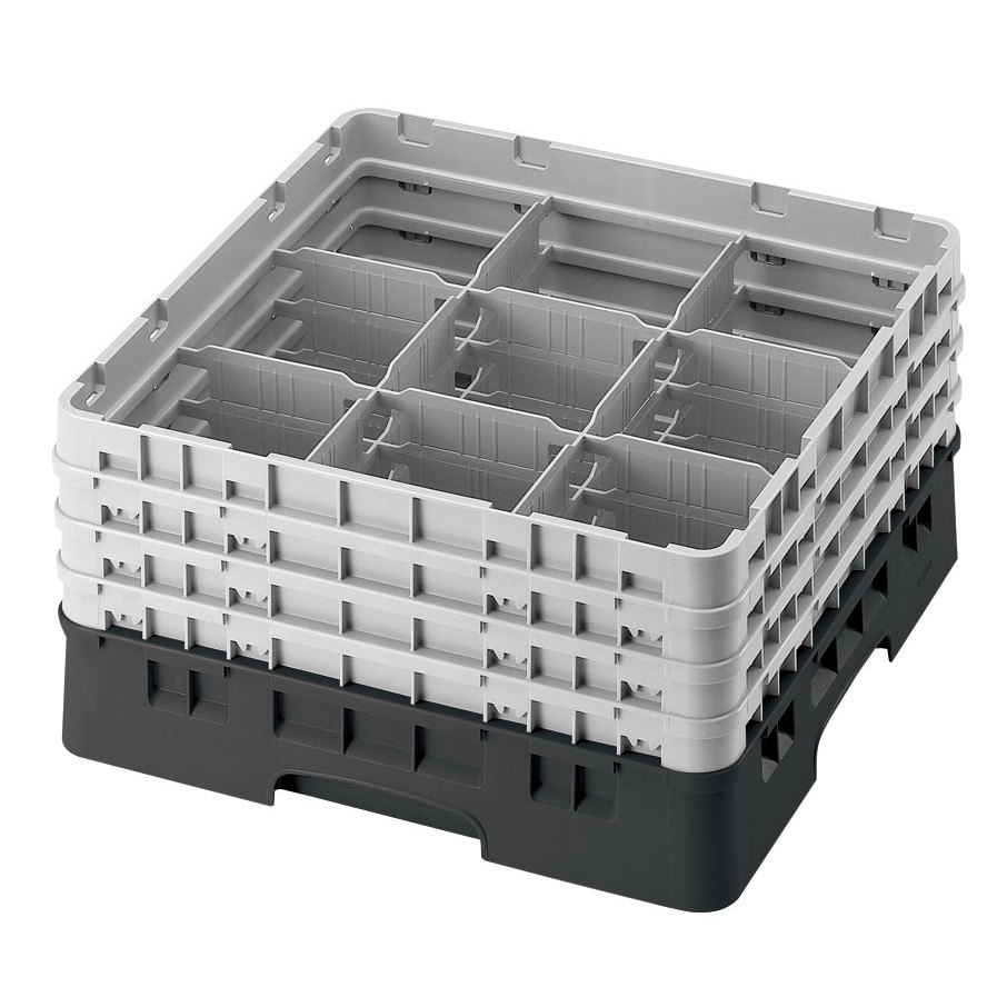 "Cambro 9S318110 Black Camrack 9 Compartment 3 5/8"" Glass Rack"