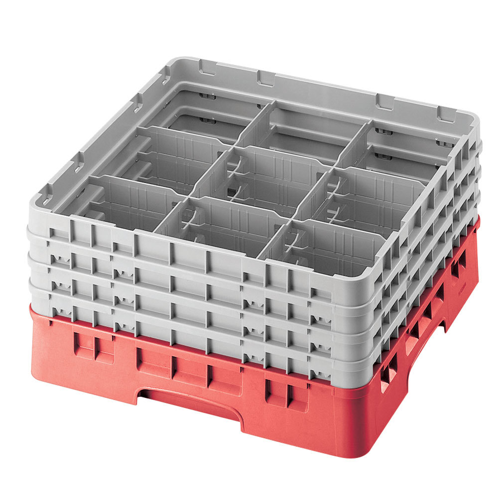 "Cambro 9S1114163 Red Camrack 9 Compartment 11 3/4"" Glass Rack"