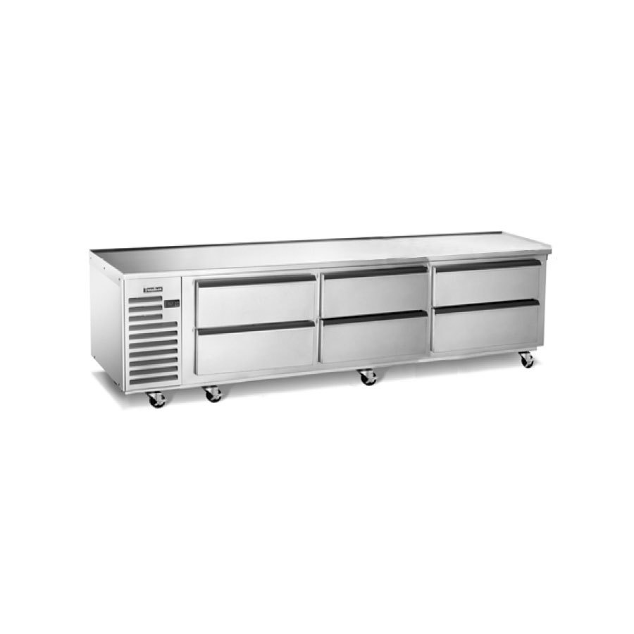 "Traulsen TE096HT 6 Drawer 96"" Refrigerated Chef Base - Specification Line"