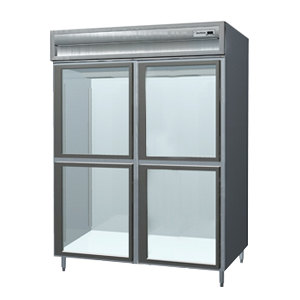 Delfield SSR2-SLGH Stainless Steel 52 Cu. Ft. Two Section Sliding Glass Half Door Reach In Refrigerator - Specification Line