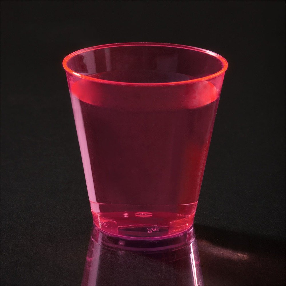Fineline Quenchers 402-RD 2 oz. Neon Red Hard Plastic Shot Cup 50 / Pack