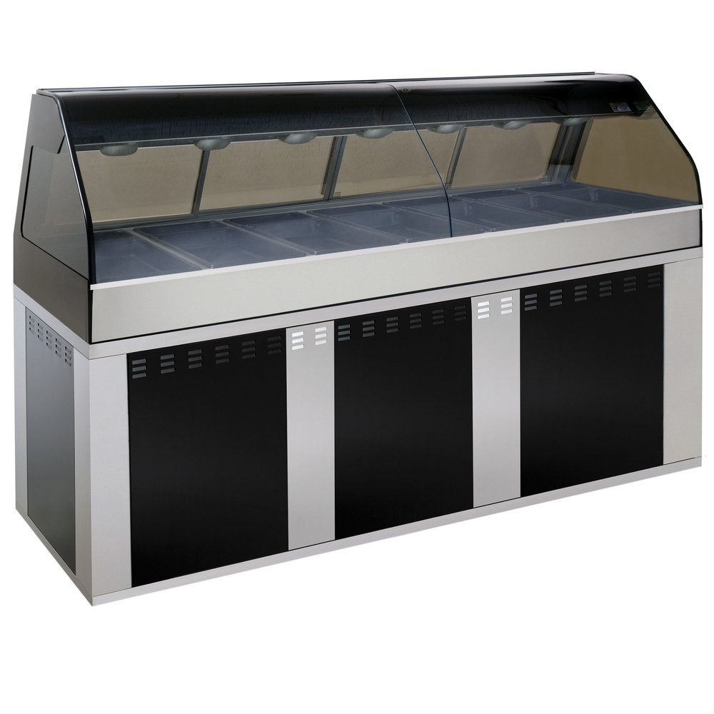 Alto-Shaam EU2SYS-96 BK Black Cook / Hold / Display Case with Curved Glass and Base - Full Service, 96""