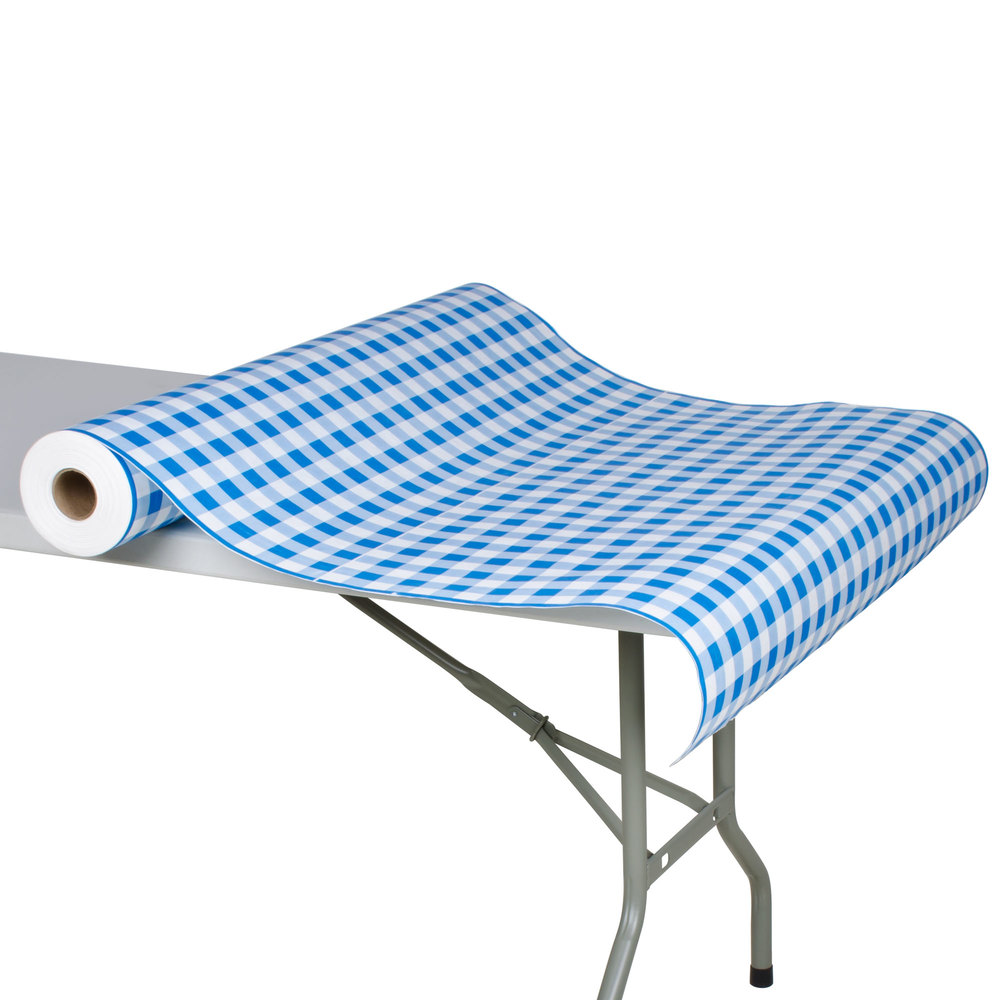 "40"" x 300' Paper Table Cover with Blue Gingham Pattern"