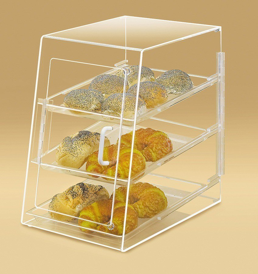 Cal Mil 263-S Bakery Display Case with Slanted Front Door and Rear Door 11 1/2 inch x 17 inch x 17 inch