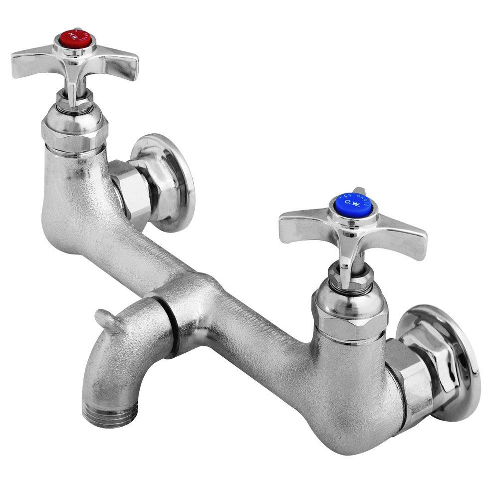 T&S B-2480 Service Sink Faucet with Rough Chrome Plated Finish, 3/4 ...