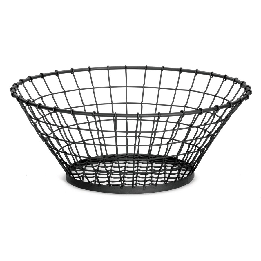 "Tablecraft GM15 Grand Master Round Black Wire Basket - 15"" x 5 1/4"""