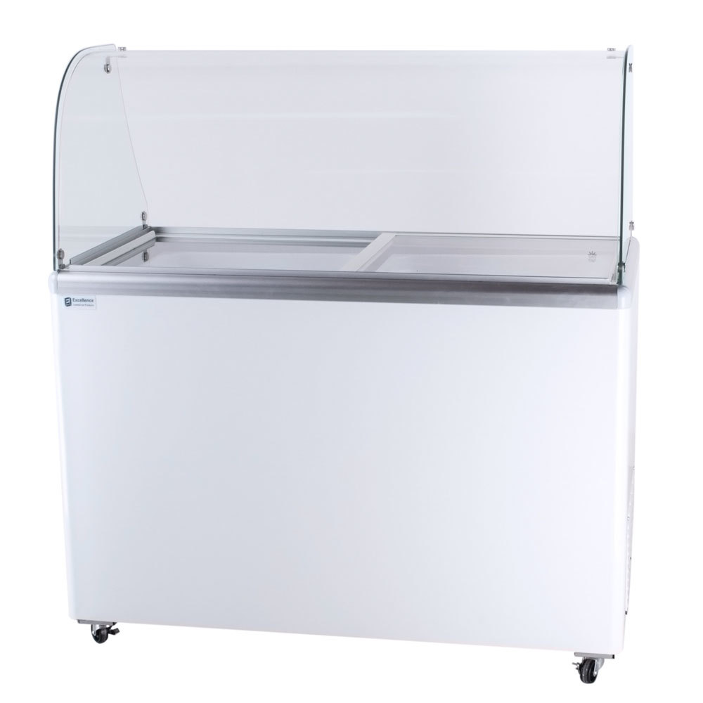 Excellence EDC-8C Ice Cream Freezer Dipping Cabinet with Curved Glass Top - 12.5 Cu. Ft.