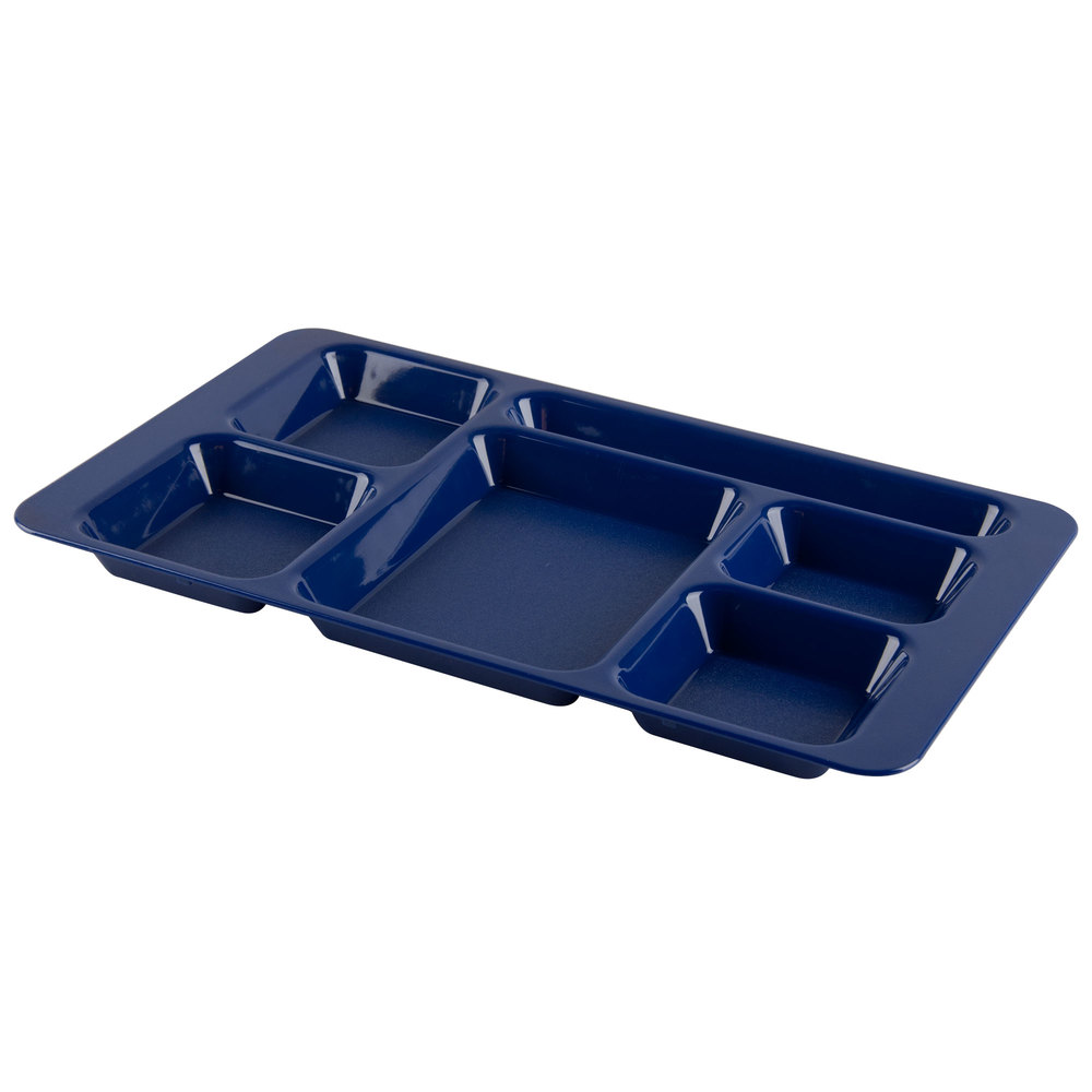 "Cambro 1596CP186 (2 x 2) 9"" x 15"" Navy Blue Six Compartment Serving Tray - 24/Case"