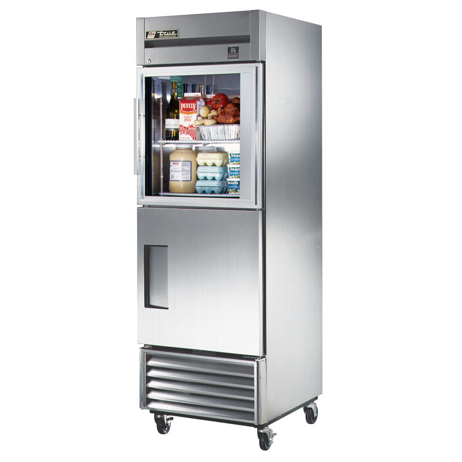 True TS-23-1-G-1 Stainless Steel Single Section Half Door Reach In Refrigerator with Glass Top and Solid Bottom - 23 Cu. Ft.